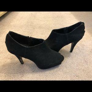 Express black suade peep toe bootie, 4'' heel